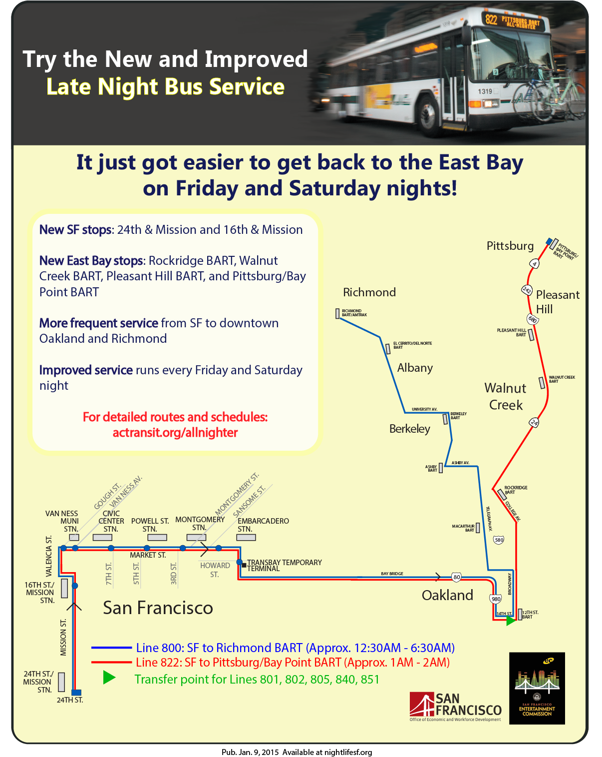 AC Transit & Bart late night bus pilot flyer